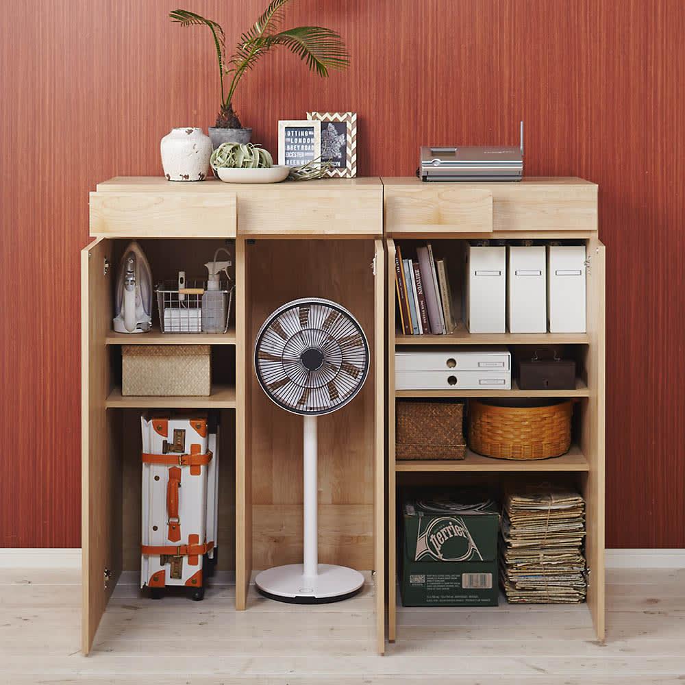 天然木調 掃除機もしまえる本棚 幅80本体高さ120cm 使用イメージ(イ)ナチュラル