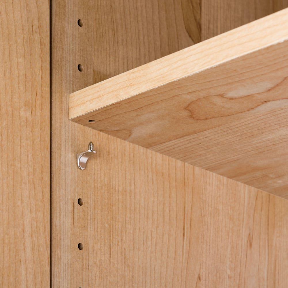 天然木調 掃除機もしまえる本棚 幅80本体高さ120cm 可動棚板は全て、外れにくい棚ダボを使用。