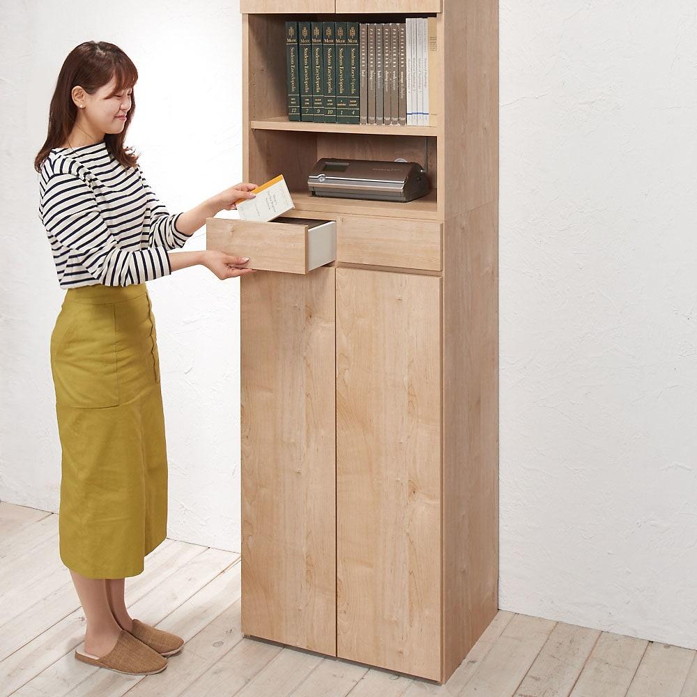 天然木調 掃除機もしまえる本棚 幅80本体高さ120cm (※写真は本体高さ230cmタイプ)