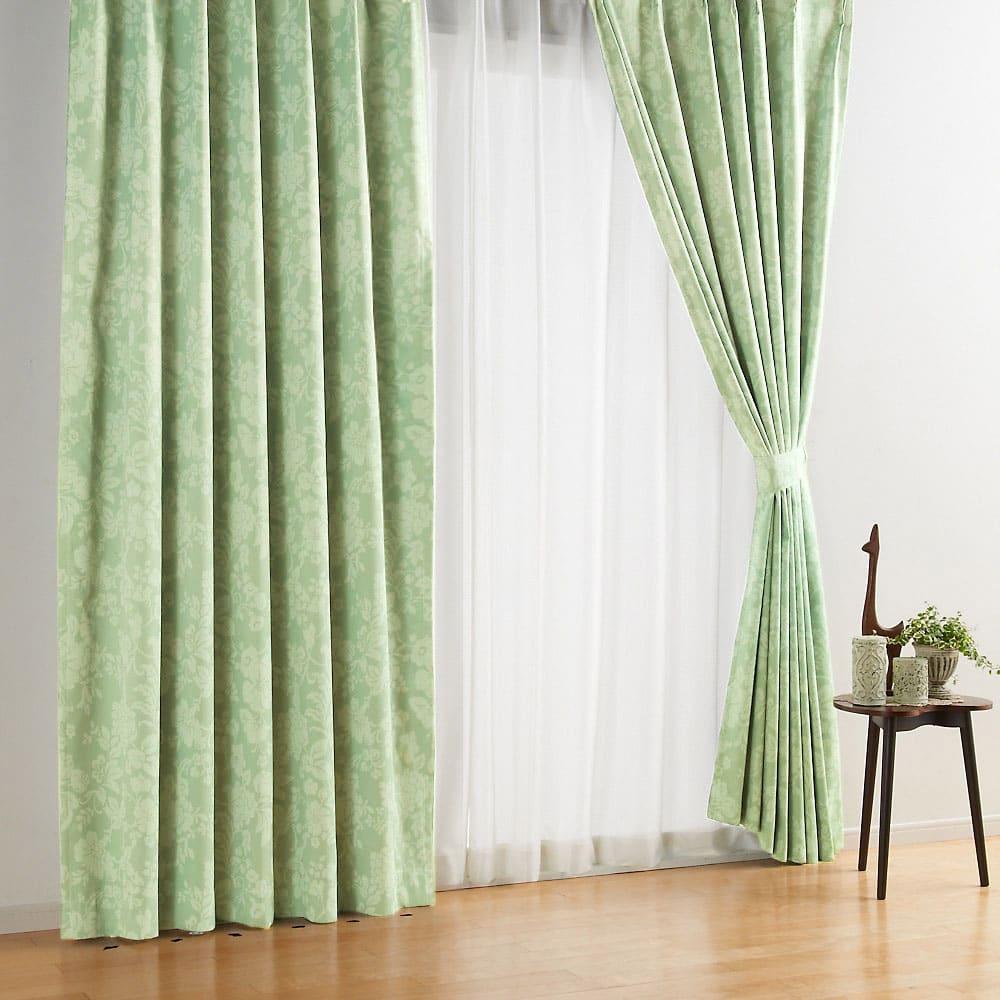 アルミコーティング遮熱・1級遮光ヒートブロック100サイズカーテン 100cm幅(2枚組) (サ)フラワーグリーン