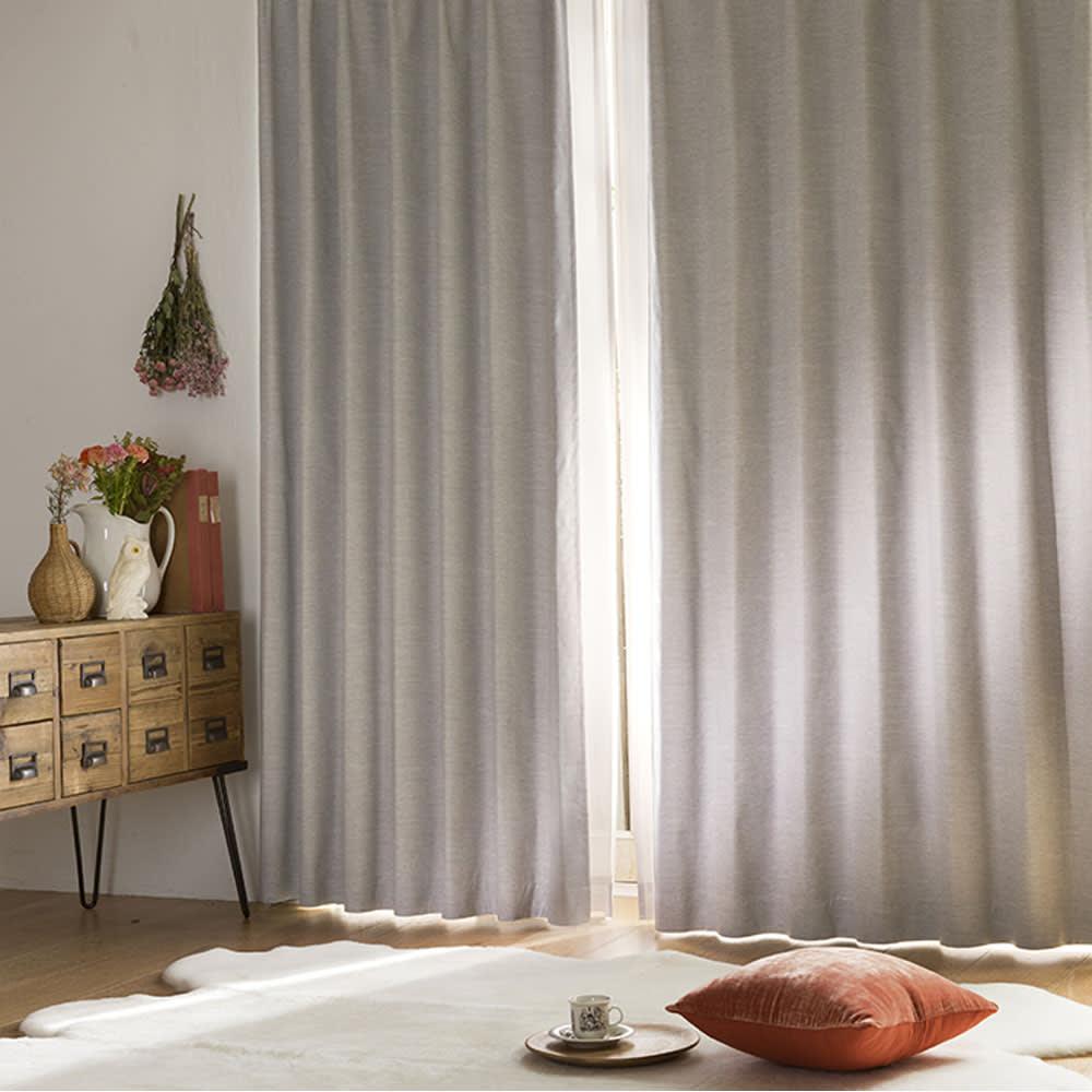 アルミコーティング遮熱・1級遮光ヒートブロック100サイズカーテン 130cm幅(2枚組) (ケ)グレー