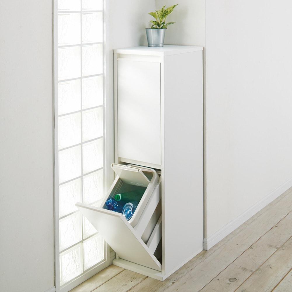 静かに閉まる家具調 分別タワーダストボックス 2分別 コーディネート例(イ)ホワイト 表面材はクリーンイーゴスなので汚れが簡単に落とせます。