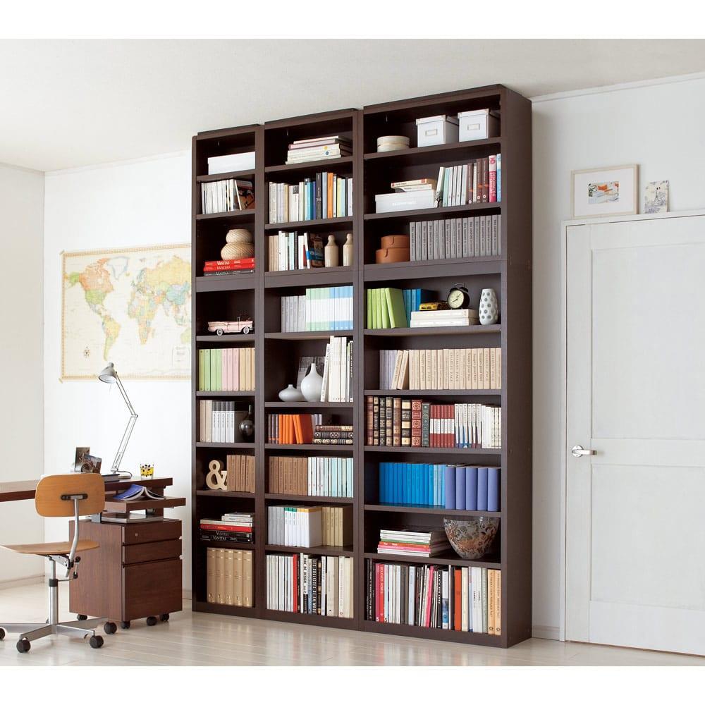 幅サイズオーダー 棚板がっちり書棚 上置き 幅31~80cm高さ31~80cm (イ)ダークブラウン色見本 設置組み合わせ例※お届けは上置きのみです。