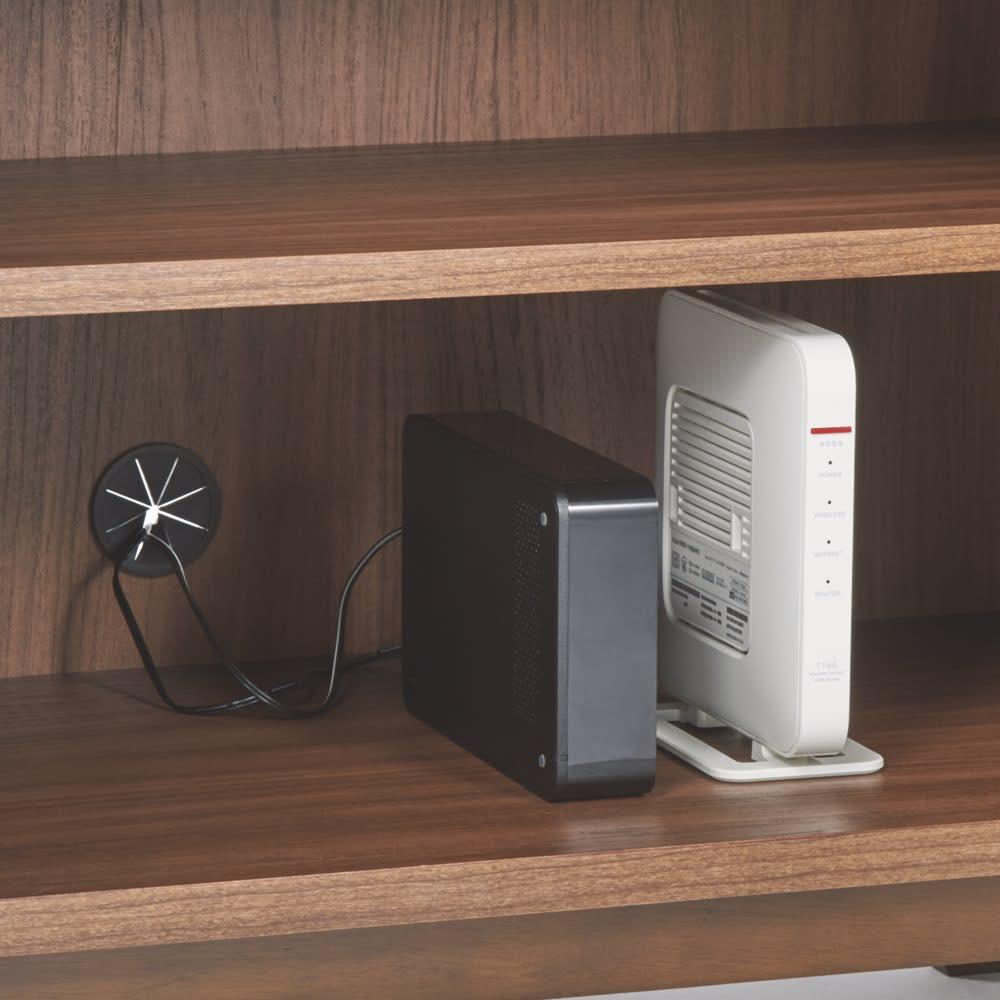 天然木格子 リビングボードシリーズ PCキャビネット 幅80cm 機器類の収納に便利なコード穴付き。