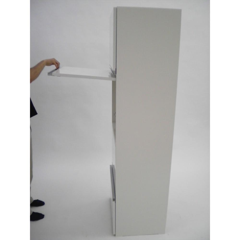組立不要!家電を隠せるキッチン収納シリーズ レンジラック幅78cm フラップ開閉の時最大奥行きは約90cmです。