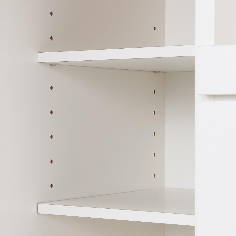 家電たっぷり収納ステンレス天板カウンター 幅149.5cm 棚板は可動式。ボトルなどの背の高いものも楽々収納できます。