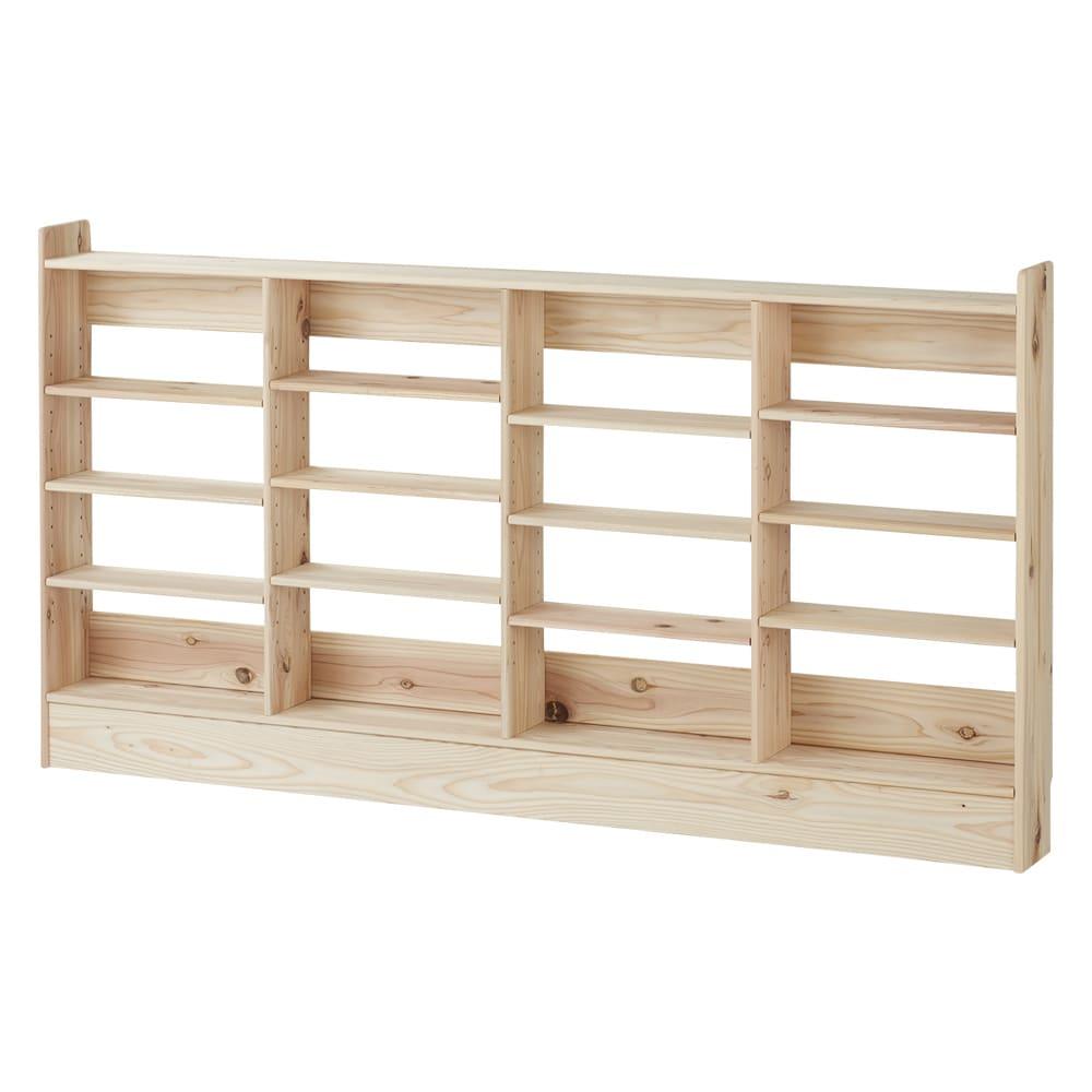薄型奥行15cm 国産杉の天然木ラック 幅160高さ85cm お届けする商品です。※隣り合う棚板は上下ずらして設置する仕様です。