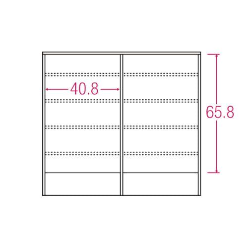 アルダー格子引き戸収納庫 幅90cm奥行25cm 内寸図