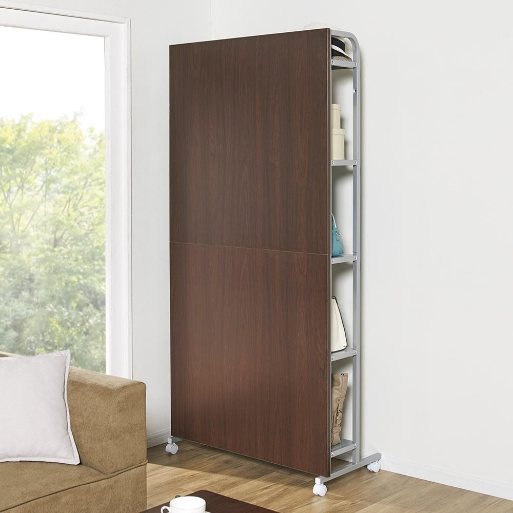キャスター付き間仕切りパネル収納 棚5枚 幅90cm 急な来客時には収納部をクルッと回転。隠す収納も簡単!