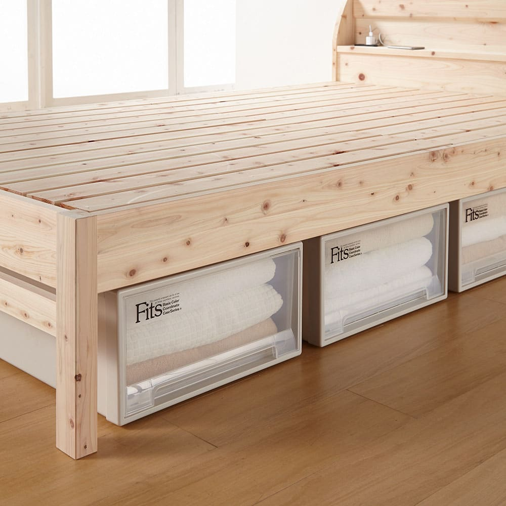 国産無塗装ひのきすのこベッドフレーム(すのこ板4分割) ≪床面高さ36cm時≫ベット下に収納ボックスを入れられます。