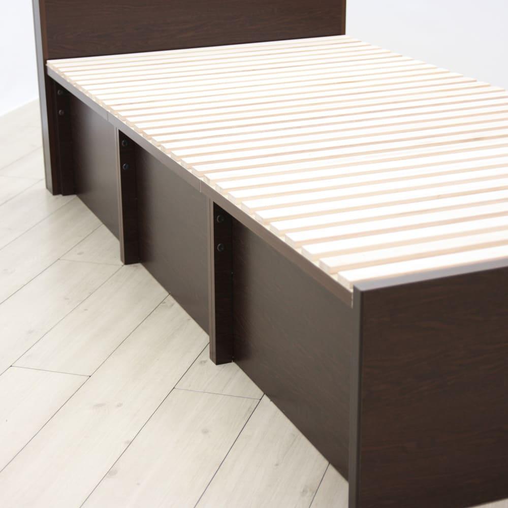 布団が使える洋服たんすベッド ヘッド付き(高さ80・床面まで41cm) 引き出し反対側の面はフラットではありません。