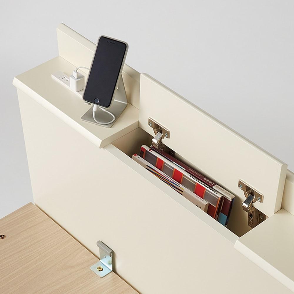 深型ガス圧跳ね上げ収納ベッド ヘッド付き 国産ポケットコイルマットレス付き ヘッドボードに収納庫、コンセント付き。左右の棚には携帯や時計が置けます。