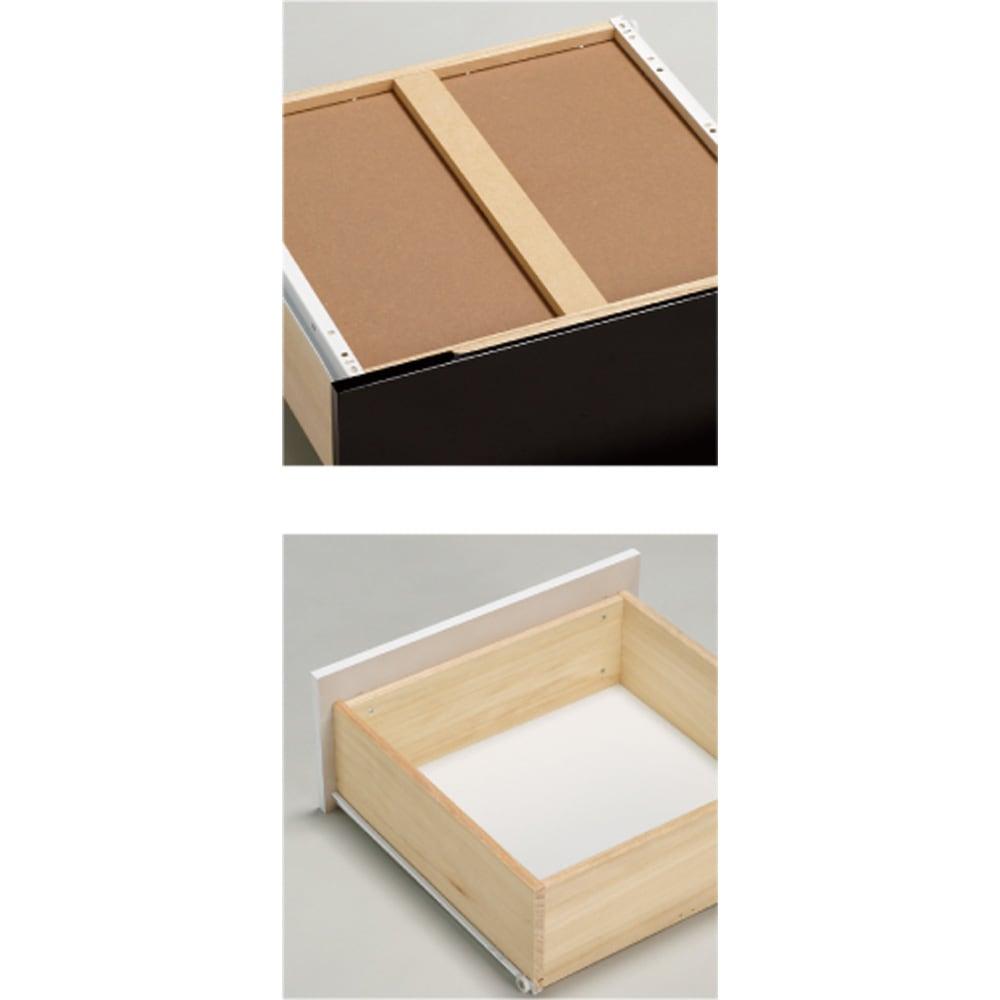 光沢が美しい収納チェストベッド ベッドフレームのみ [写真上]引き出し底面裏には補強板を貼った頑丈仕上げ。 [写真下]桐材を使った引き出しは頑丈な箱組構造。
