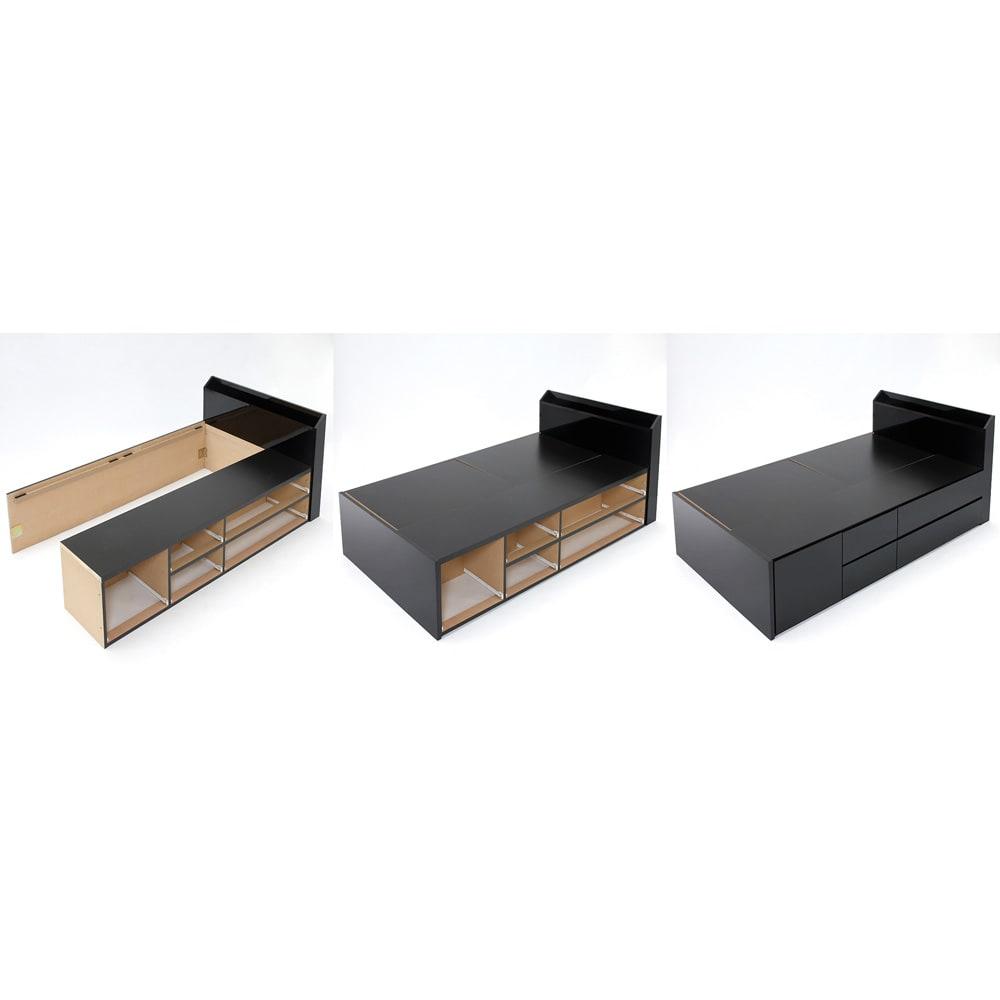 光沢が美しい収納チェストベッド ポケットコイルマットレス(厚さ19cm)付き 【組み立て手順】 (左)引き出しを外し、ヘッドボードにサイドフレームを取り付ける。 (中)フットボードを取り付ける。 (右)引き出しを元に戻し、床板を取り付けて完成!