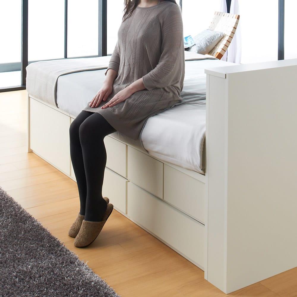 間仕切り仕様 大容量収納チェストベッド フレームのみ マットレスを敷いた時、腰掛けた場合の高さイメージ。