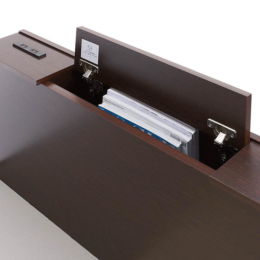 間仕切り仕様 大容量収納チェストベッド フレームのみ ヘッドボードには深さ32cmの雑誌が入る収納庫付き。棚の端には2口コンセント付き。
