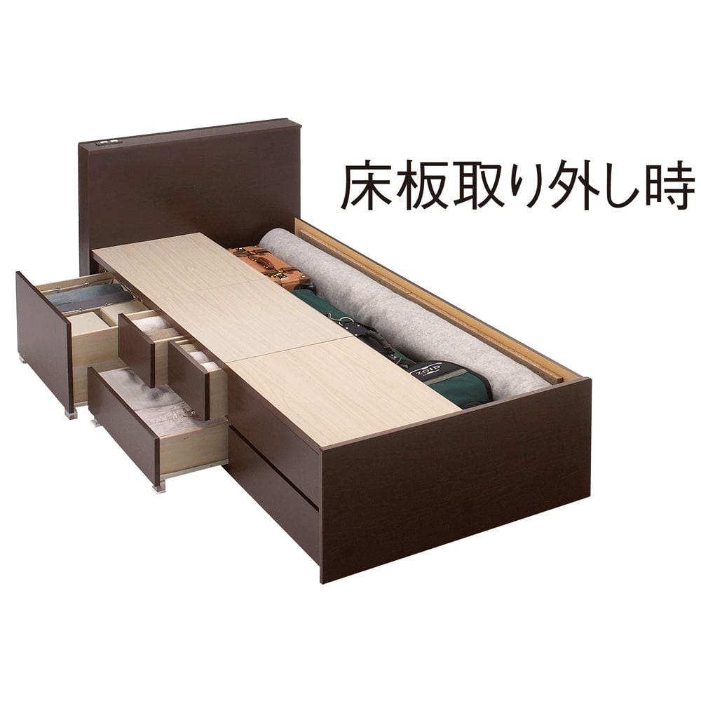 間仕切り仕様 大容量収納チェストベッド ポケットコイルマットレス付き 床板の下は長さ195cmまでの長尺物が収納可能。 ※写真はシングルタイプです。
