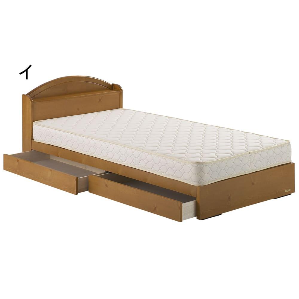 France Bed/フランスベッド 天然木棚付き引き出しベッド マルチラススーパースプリングマットレス付き (イ)ナチュラル 引き出しは左右どちらにも取り付けできます。 ※写真はシングルです。