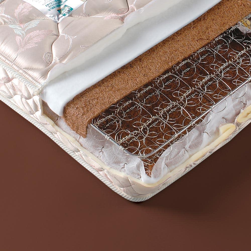 France Bed/フランスベッド ハイグレードマルチラスマットレス 高密度コイル構造の上に通気性のいいパームパッドを敷き、マット表面に吸湿・発散性のいい羊毛綿を入れてクッション性も増しています。