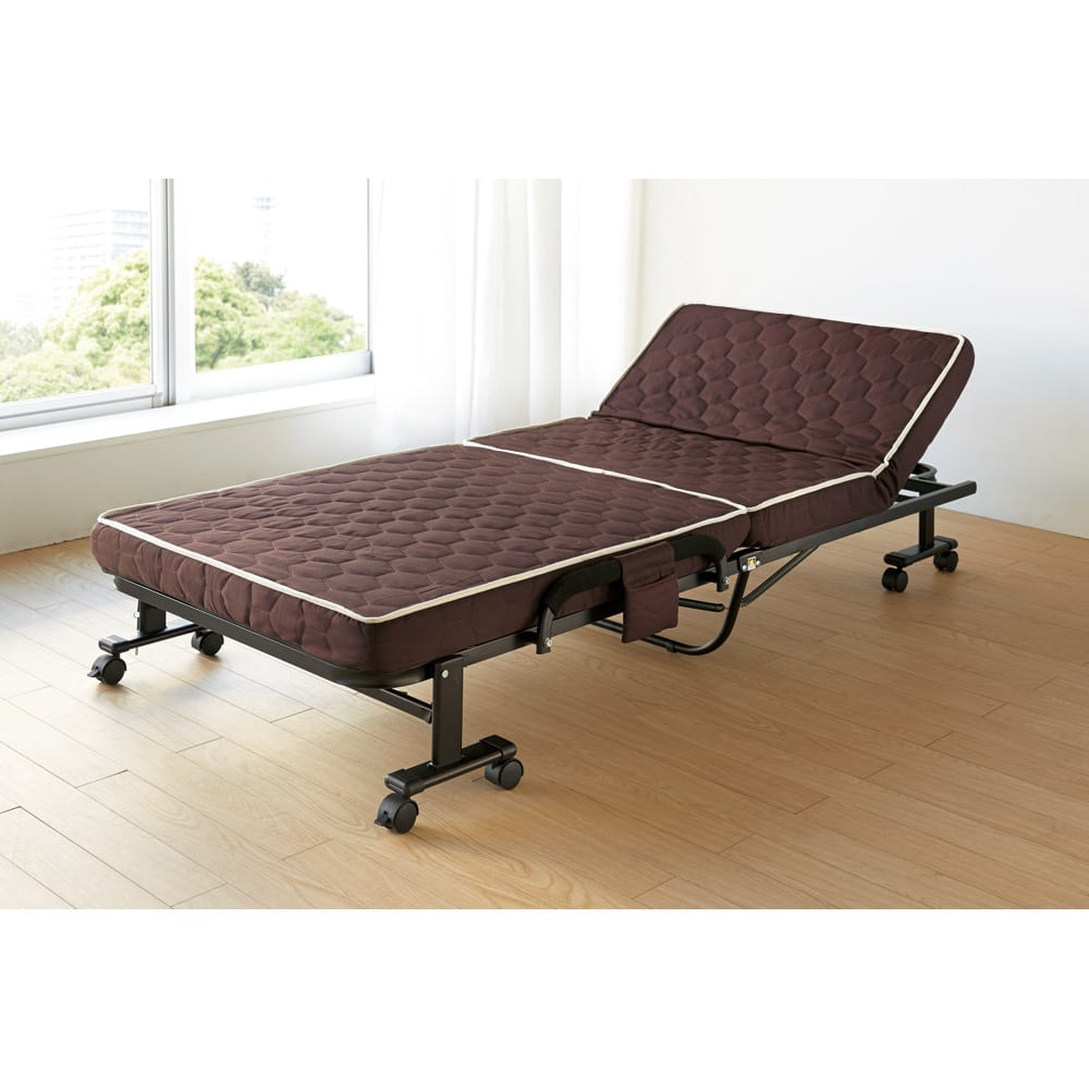 組立不要 高反発マットレスワンタッチ折りたたみベッド リクライニングしてリラックスベッドとして。