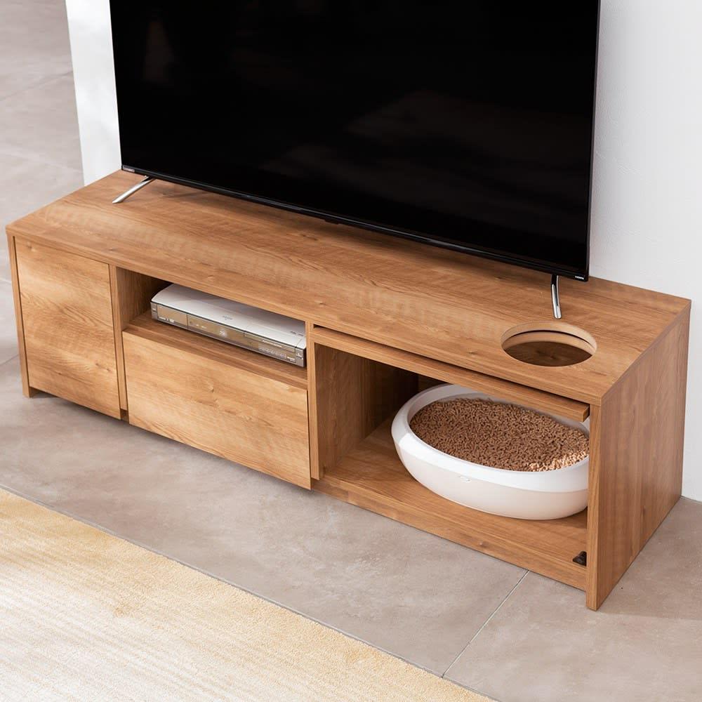猫トイレを目隠しできる! ネコのくつろぎスペース付きテレビ台 幅150cm (ア)ブラウン