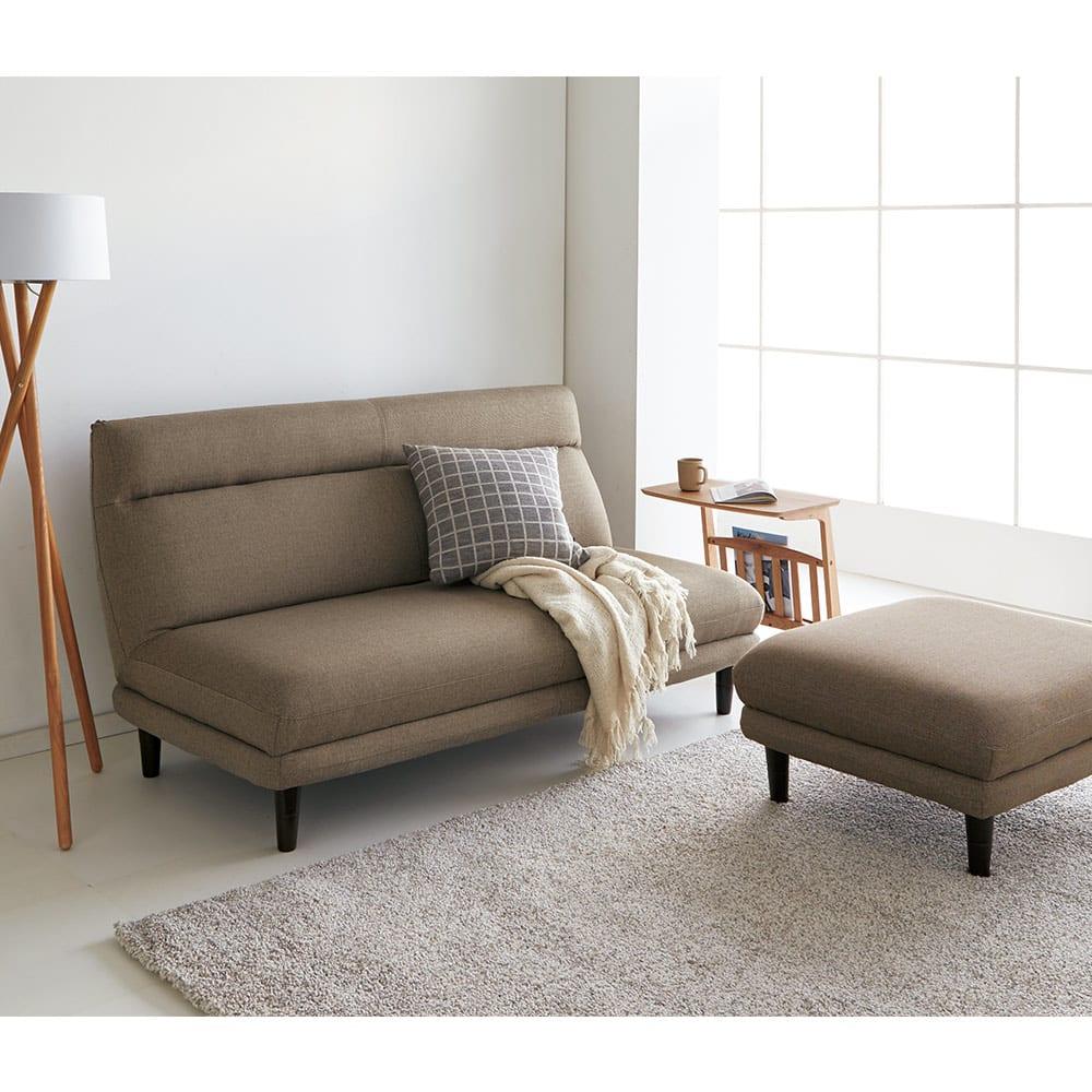 カフェ風天然木ソファサイドテーブル 幅55cm コーディネート例(イ)ナチュラル