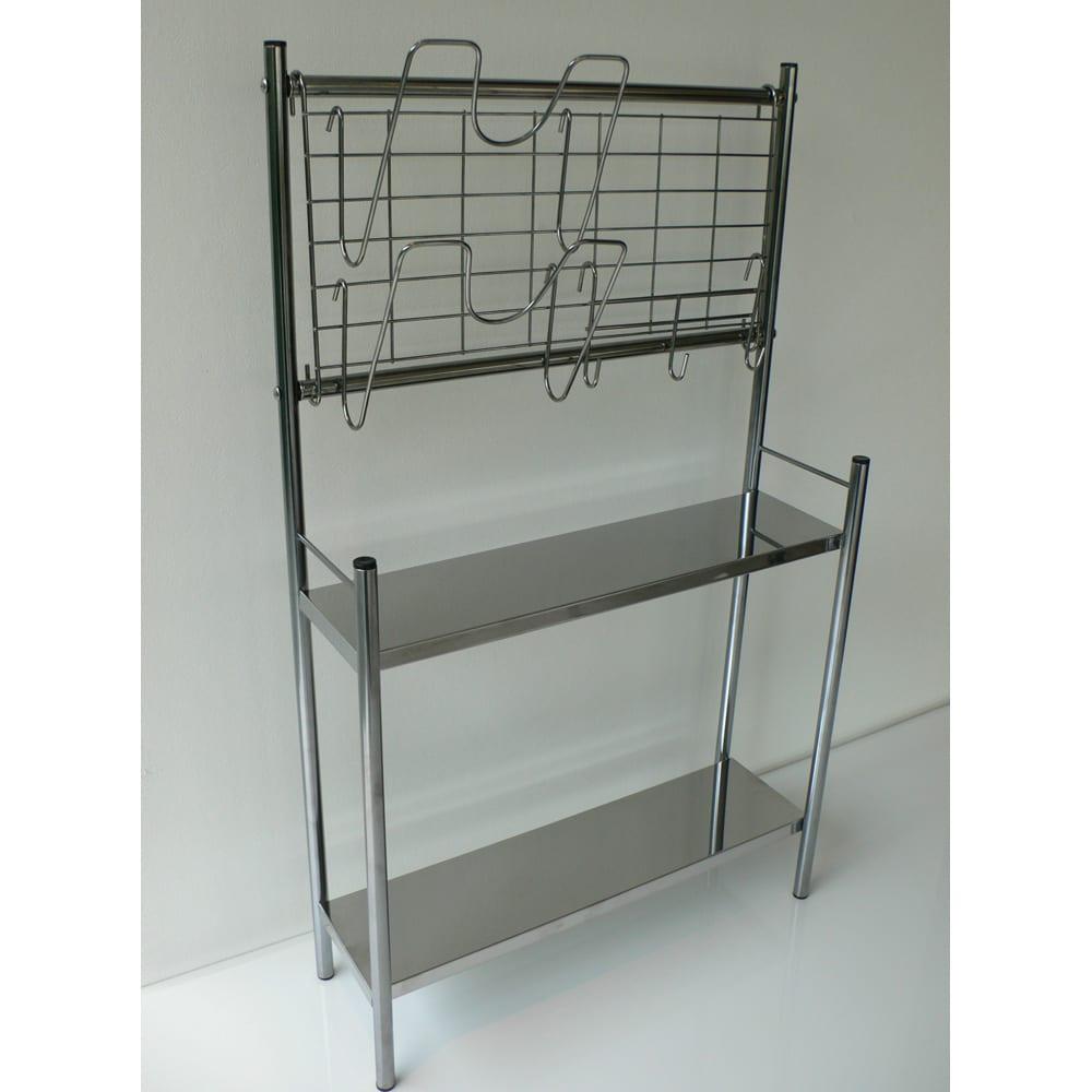 ステンレス棚コンロサイド収納ラック ネットパネル付き 幅40cm シンクサイドやコンロサイドに置きやすい形。