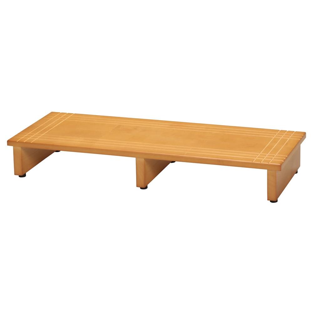 天然木玄関ふみ台 幅90cm お届けする商品です。アジャスター付きで玄関床の傾斜に対応します。
