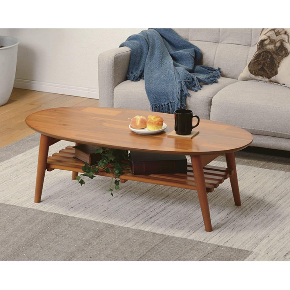 天然木折りたたみテーブル(ラウンド) ブラウン/ライトブラウン/ホワイトウォッシュ 座卓・ローテーブル