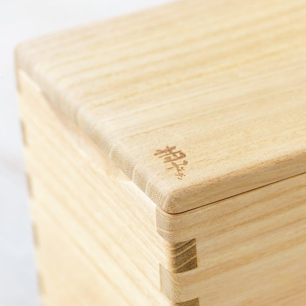 イシモク「桐子モダン」 桐の米びつ 20kg 強度を高め見た目の美しさも引き立てる「ほぞ組み」。