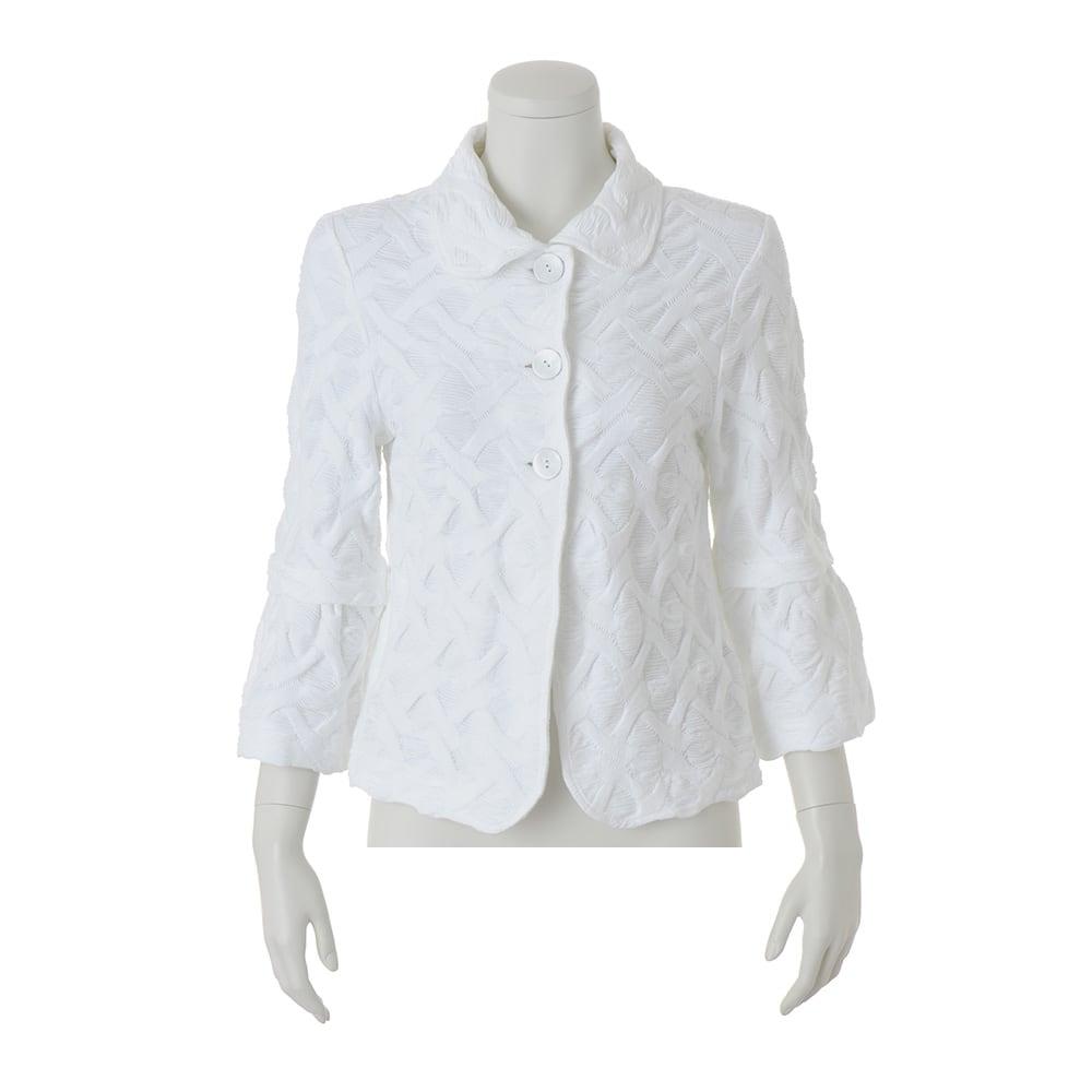 ジャカードジャージージャケット(イタリア製) (イ)ホワイト