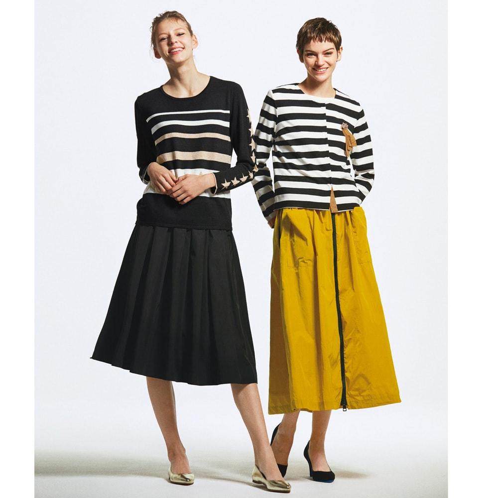 フロントジップ サイドライン フレアスカート(イタリア製) (右)フロントジップ サイドライン フレアスカート(イタリア製) コーディネート例
