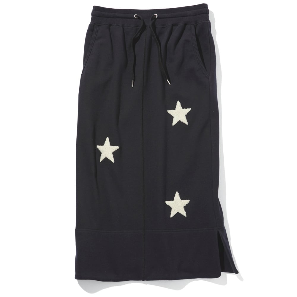 星柄さがら刺しゅう スウェットスカート