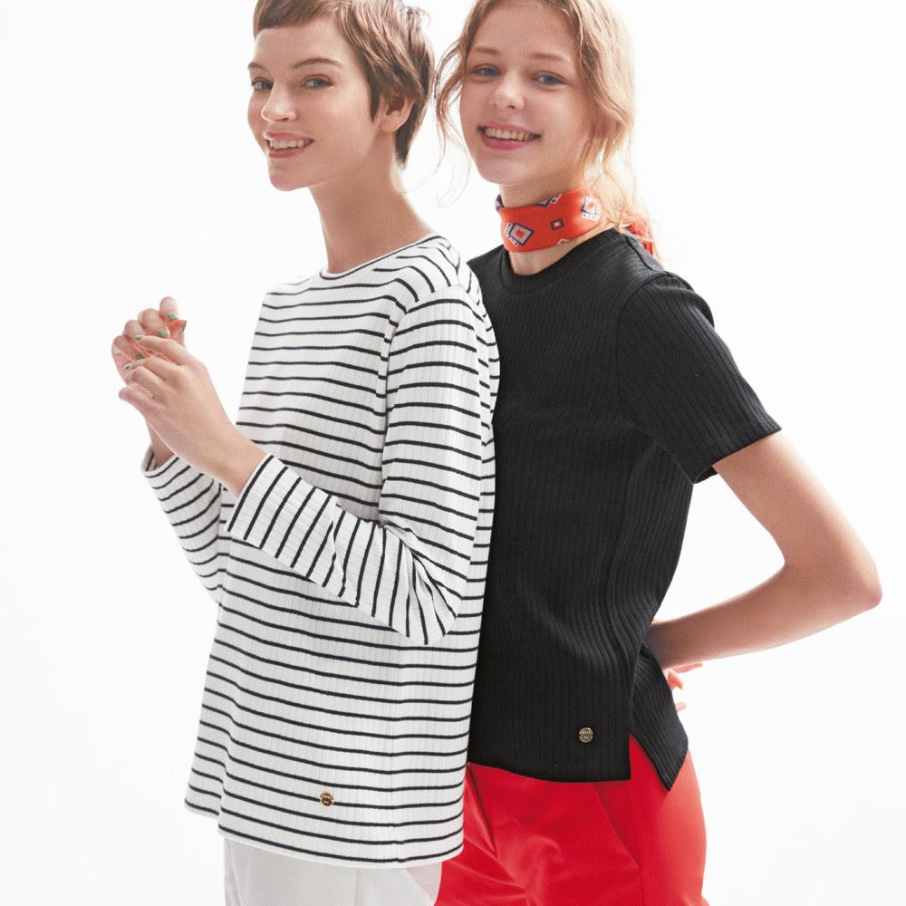 超長綿スビンギザコットン ワイドリブTシャツ (右)超長綿スビンギザコットン ワイドリブTシャツ (オ)ブラック コーディネート例