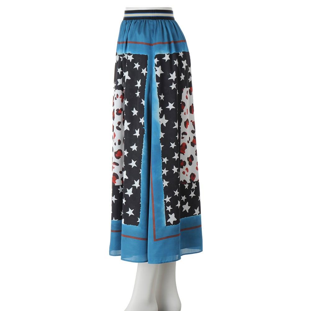 星とヒョウ柄スカーフプリント フレアスカート