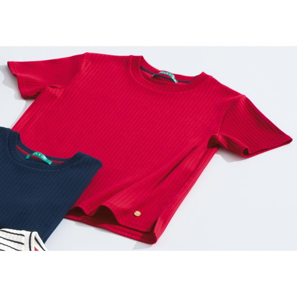 超長綿スビンギザコットン ワイドリブTシャツ (イ)レッド