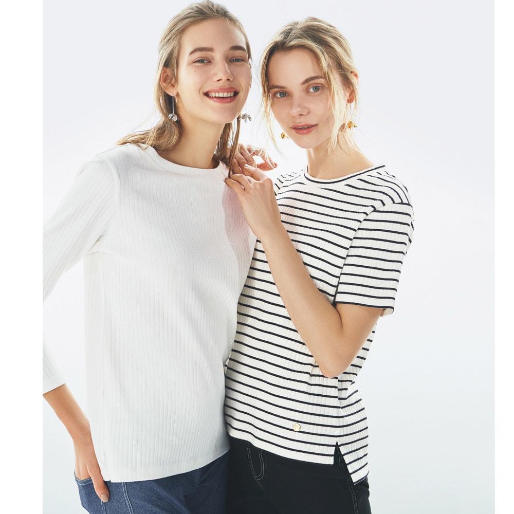 超長綿スビンギザコットン ワイドリブTシャツ (右)超長綿スビンギザコットン ワイドリブTシャツ (カ)ボーダー(ホワイト×ブラック) コーディネート例