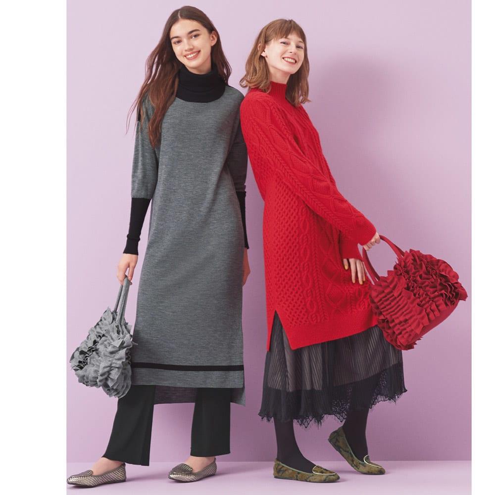 裾レース付き ギャザーロングスカート (右)裾レース付き ギャザーロングスカート コーディネート例