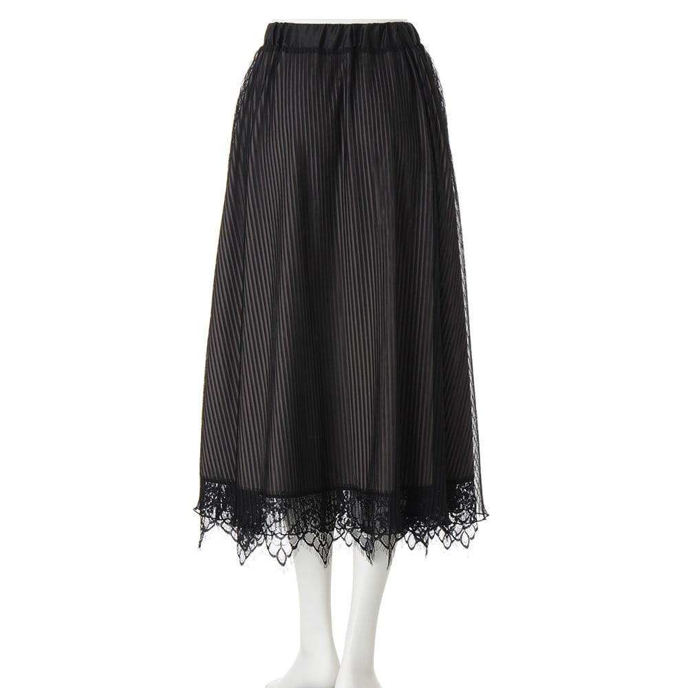 裾レース付き ギャザーロングスカート