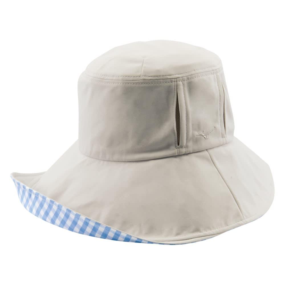 MIZUNO/ミズノ 着る木陰のつば広帽子 (ウ)ライトグレー (内側)ブルーギンガム