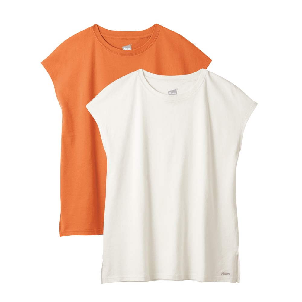 Hanes/ヘインズ 多機能ノースリーブTシャツ 左から(イ)オレンジ (ウ)オフホワイト 接触冷感素材のTシャツはフレンチ風ノースリーブで二の腕カバー&おしゃれ感アップ。