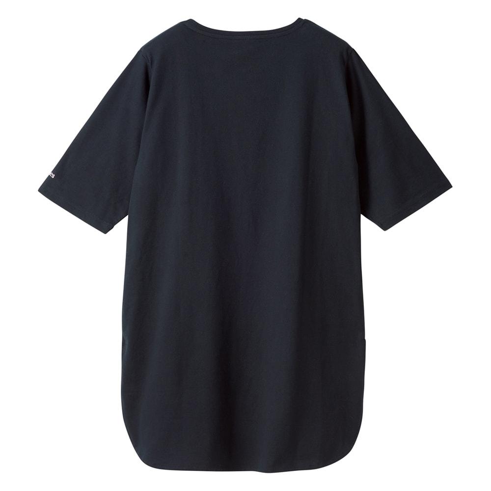 Hanes/ヘインズ 多機能イレギュラーヘムTシャツ (イ)ブラック Back 腰やヒップをしっかりとカバーしてくれる絶妙丈。