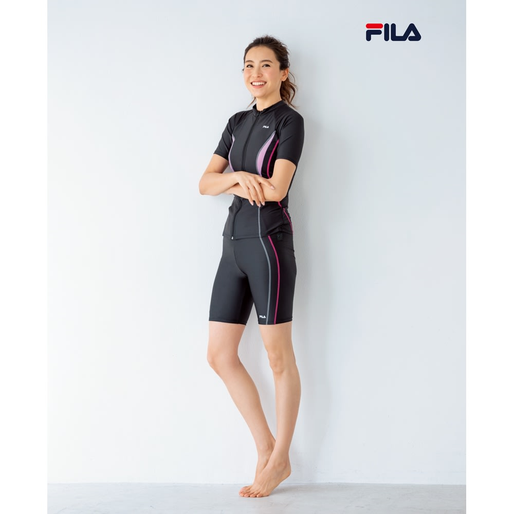 FILA/フィラ フィットネス水着&ラッシュガードセット 9~13号 (ア)水着:ブラック&ラッシュガード:ホワイト