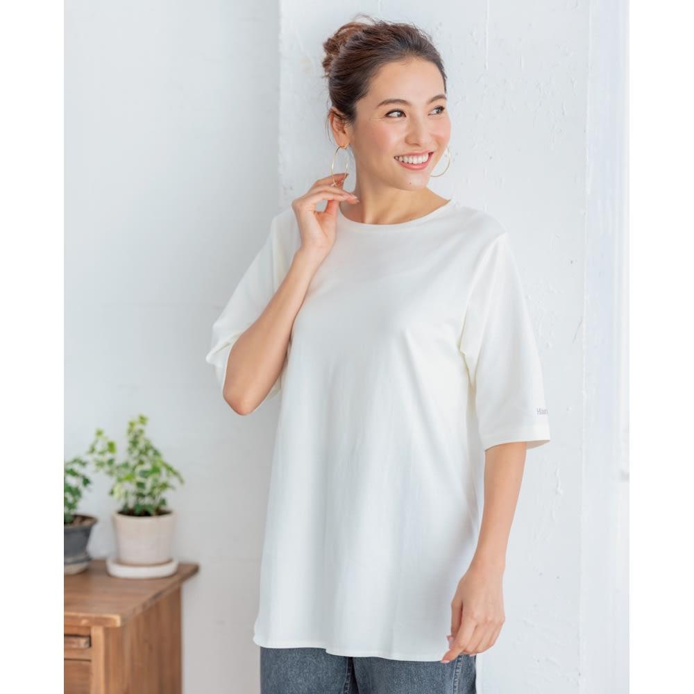 Hanes/ヘインズ 多機能イレギュラーヘムTシャツ (ア)オフホワイト コーディネート例