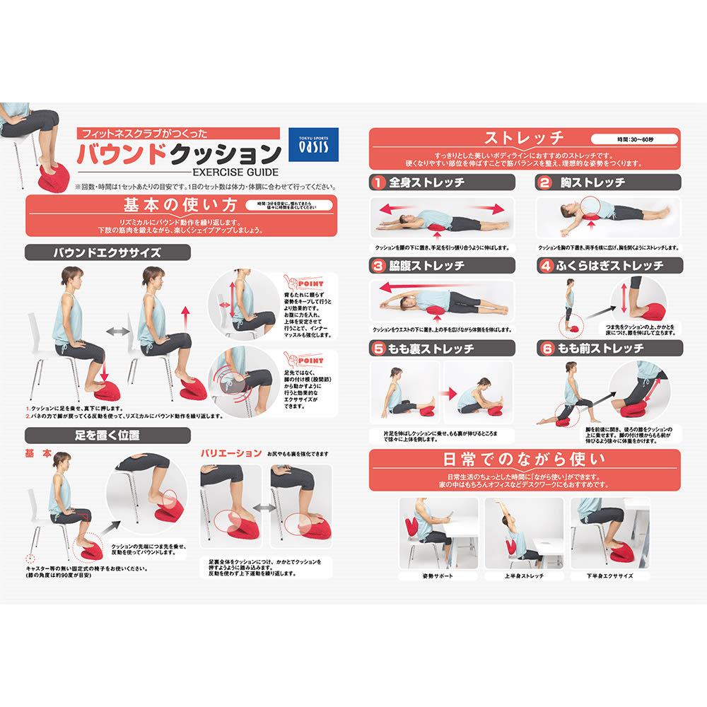 東急スポーツオアシス バウンドクッション 【運動レシピ付き】下半身の運動だけでなくストレッチや部分シェイブもできる運動レシピ付き。