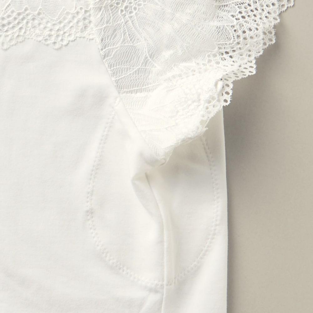 エレガントレース UVネックインナー2色組 汗取りパッド付き 目立ちにくい汗取りパッド付き。暑い日の気になる汗対策もバッチリ!