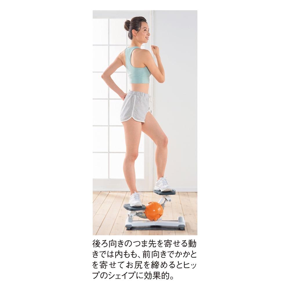 AEROLIFE/エアロライフ コアビクサー 前向きと後ろ向きで使う筋肉が変わり全身シェイプが可能 後ろ向きのつま先を寄せる動きでは内もも、前向きでかかとを寄せてお尻を締めるとヒップのシェイプに効果的。