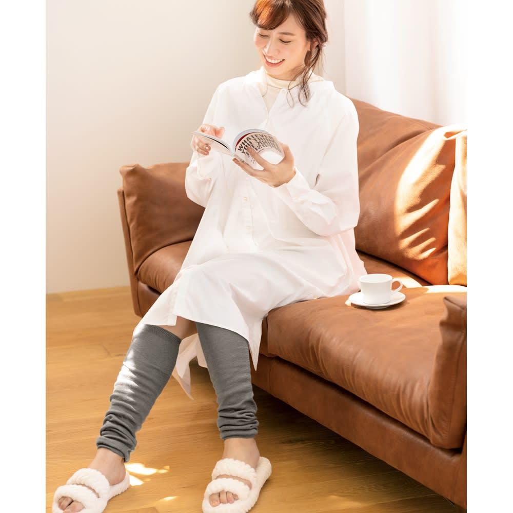 シルク美人シリーズ 起毛シルク100% ニーハイウォーマー(日本製) (ア)ライトグレー コーディネート例