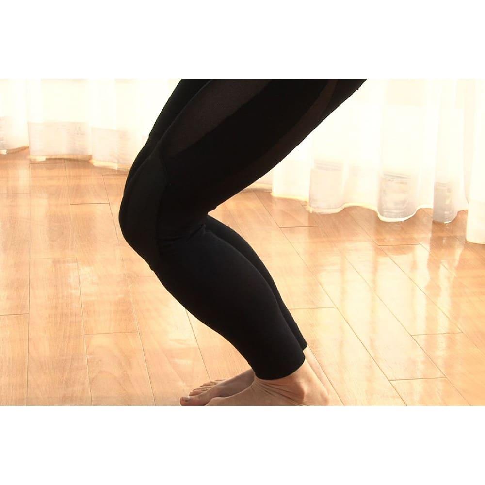 グングンウォークW ○ふくらはぎ…テーピング編みでふくらはぎとスネの筋肉をサポート。