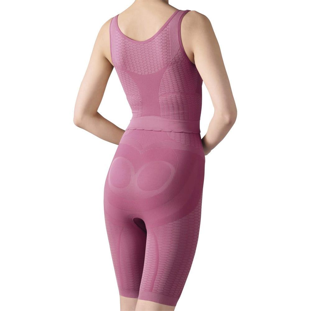桜香流セルスルーエステ タンクトップ&ガードル(同色同サイズ) 凹凸編みが太ももを刺激。 (イ)ローズピンク